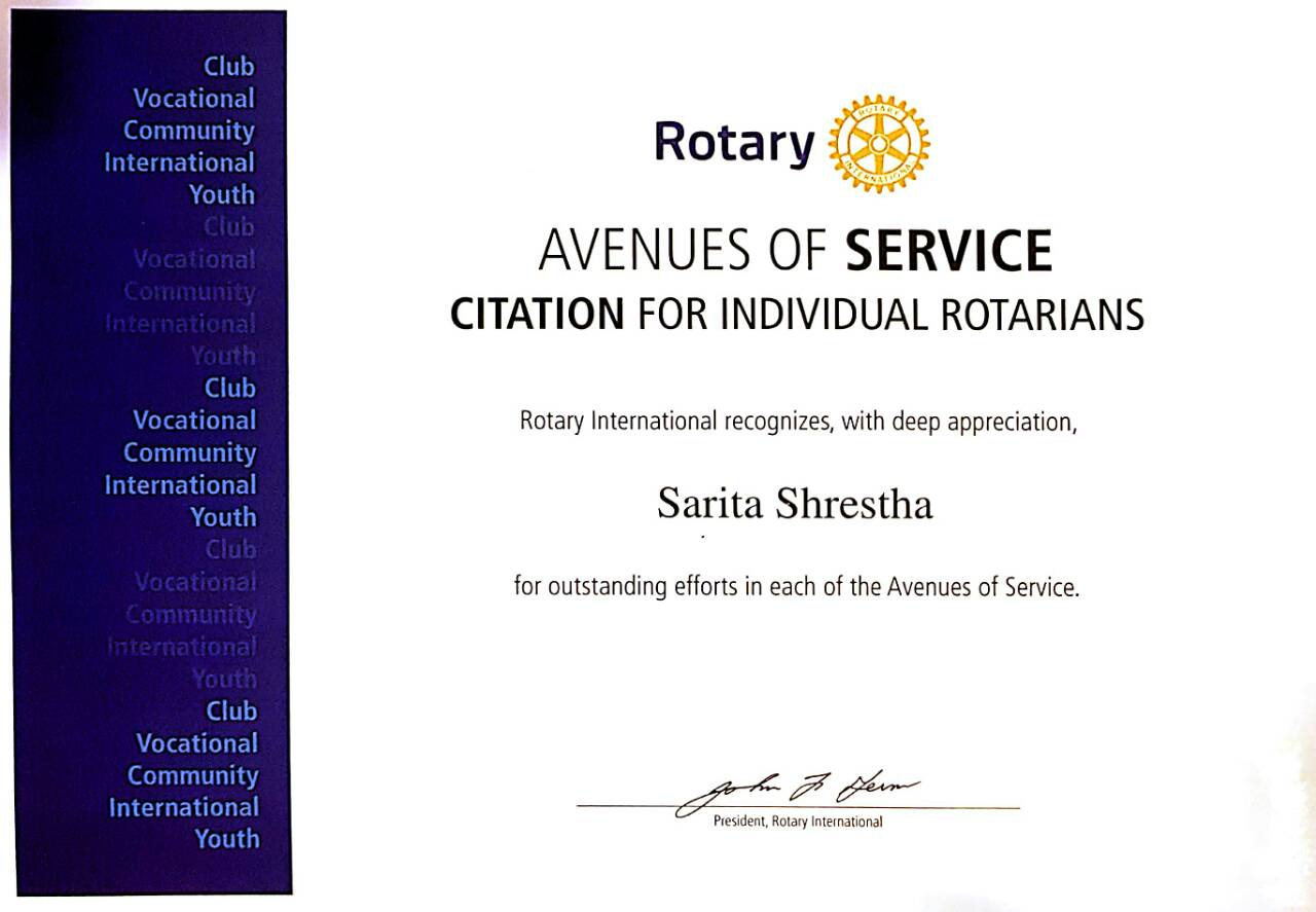 Citation Award for Rtn. Sarita Shrestha